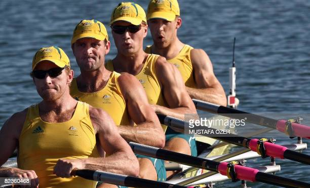 Australia's Rod Chisholm, Anthony Edwards, Ben Cureton and Todd Skipworth power in the lightweight men's four semifinal A/B 2 at the Shunyi Rowing...