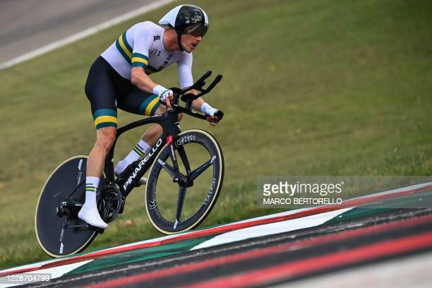 Australia's Rohan Dennis competes in the Men's Elite Individual Time Trial at the UCI 2020 Road World Championships in Imola, Emilia-Romagna, Italy,...