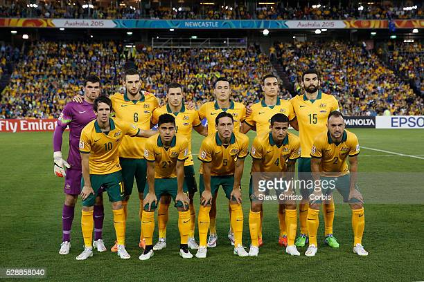 Australia's run on team for the match against the United Arab Emirates at Newcastle Stadium Sydney Australia Tuesday 27th January 2015