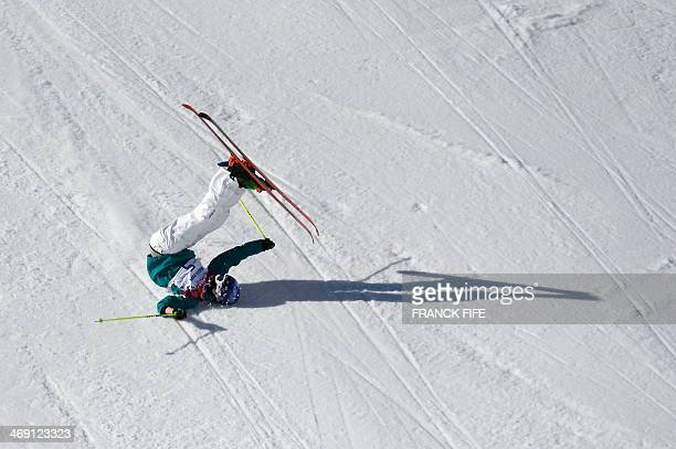 Australia's Russell Henshaw crashes in the Men's Freestyle Skiing Slopestyle finals at the Rosa Khutor Extreme Park during the Sochi Winter Olympics...