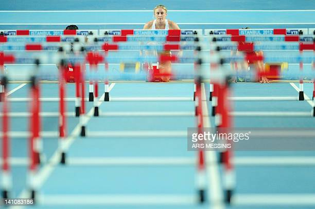 Australia's Sally Pearson settles into the blocks at the start of the women's 60m hurdles final at the 2012 IAAF World Indoor Athletics Championships...
