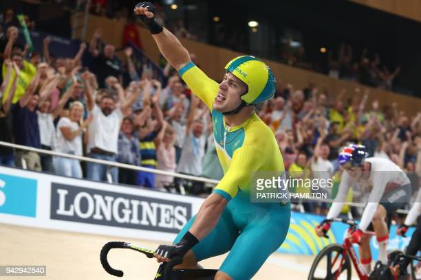 Australia's Sam Welsford celebrates his gold medal win in the men's 15km scratch race finals cycling during the 2018 Gold Coast Commonwealth Games at...