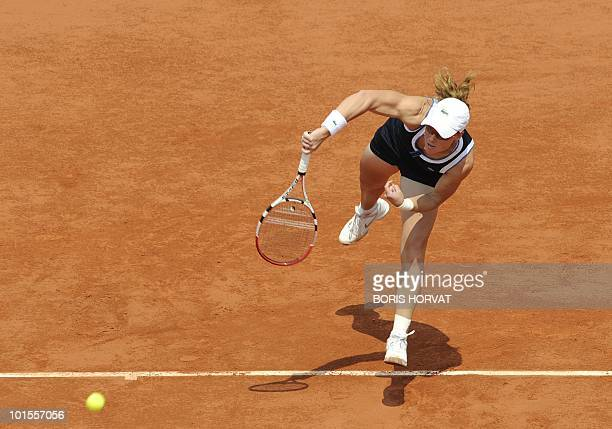 Australia's Samatha Stosur serves to US Serena Williams plays during their women's quarter-final match in the French Open tennis championship at the...