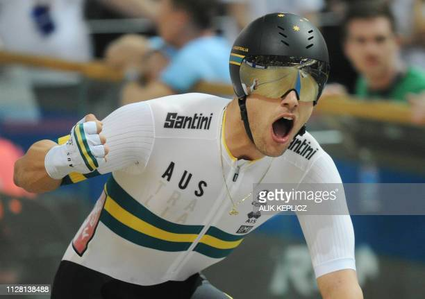 Australia's Samuel Welsford celebrates winning the Men's Scratch Race at the UCI Track Cycling World Championships in Pruszkow on February 28 2019