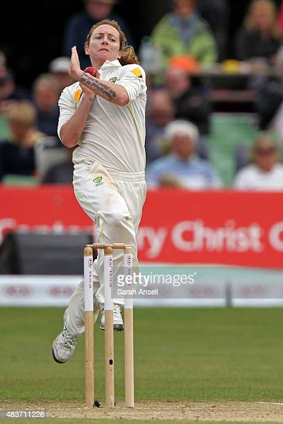 Australia's Sarah Coyte bowls during day two of the Kia Women's Test of the Women's Ashes Series between England and Australia Women at The Spitfire...