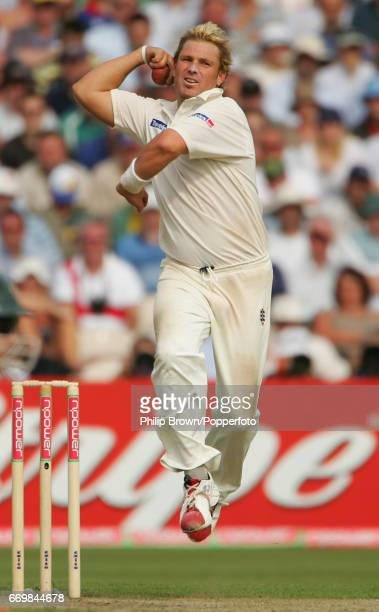 Australia's Shane Warne bowls during the first day of the 3rd Ashes Test match at Old Trafford between Australia and England at Manchester England on...