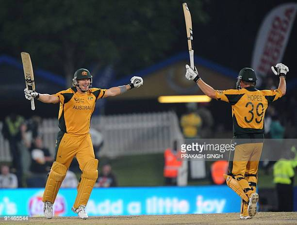 Australia's Shane watson and James Hopes celebrates the victory over New Zealand during the ICC Champions Trophy's final match between Australia and...