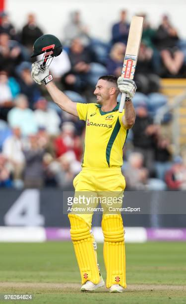 Australia's Shaun Marsh acknowledges the applause on reaching his century during the Royal London OneDay Series 2nd ODI between England and Australia...