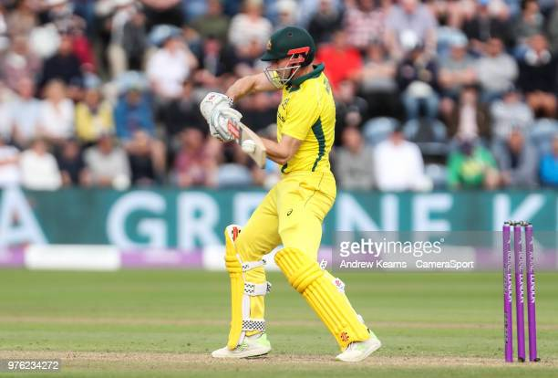 Australia's Shaun Marsh hits the ball to the boundary for four during the Royal London OneDay Series 2nd ODI between England and Australia at Sophia...