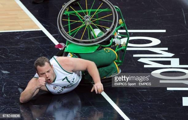 Australia's Shaun Norris celebrates scoring a basket during the men's wheelchair basketball final between Australia and Canada at the North Greenwich...