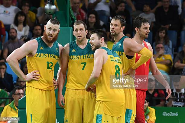 Australia's shooting guard Chris Goulding, Australia's forward Aron Baynes, Australia's small forward Joe Ingles, Australia's guard Matthew...