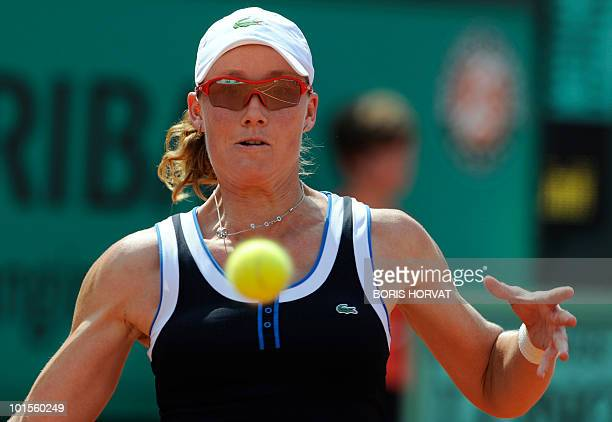 Australia's Smantha Stosur eyes the ball during her women's quarter-final against US Serena Williams in the French Open tennis championship at the...