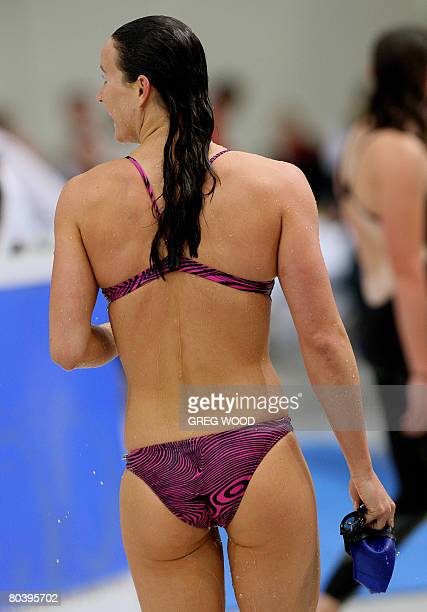 Australia's Sophie Edington wearing a bikini for fun leaves the pool after her semifinal of the Women's 50m Butterfly at the Australian Swimming...