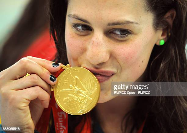 Australia's Stephanie Rice kisses her Gold Medal for the Women's 400m Individual Medley at Beijing's National Aquatic Center on day two of the 2008...