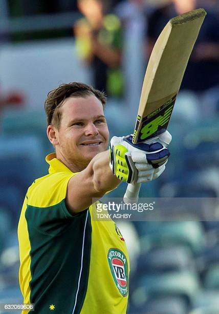 Australia's Steve Smith acknowledges the crowd after scoring a century during the third oneday international cricket match between Pakistan and...