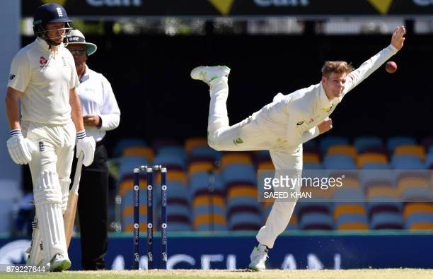 Australia's Steve Smith bowls to England's batsman Stuart Broad on the fourth day of the first cricket Ashes Test between England and Australia in...