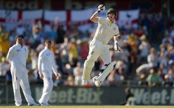 Australia's Steve Smith celebrates reaching his century during the 3rd Ashes cricket Test match between Australia and England at the WACA cricket...