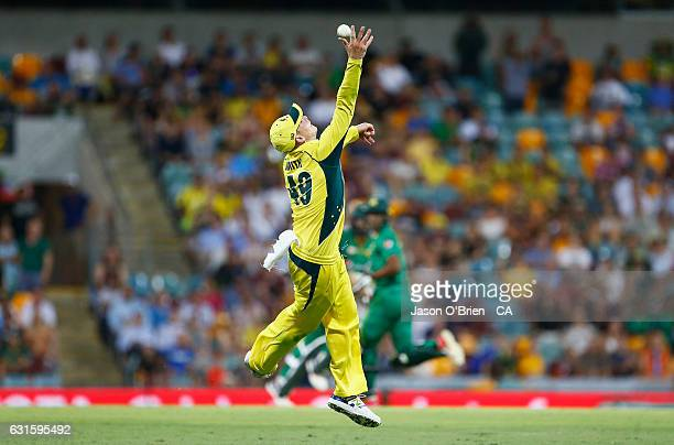 Australia's Steve Smith narrowly misses taking a catch during game one of the One Day International series between Australia and Pakistan at The...
