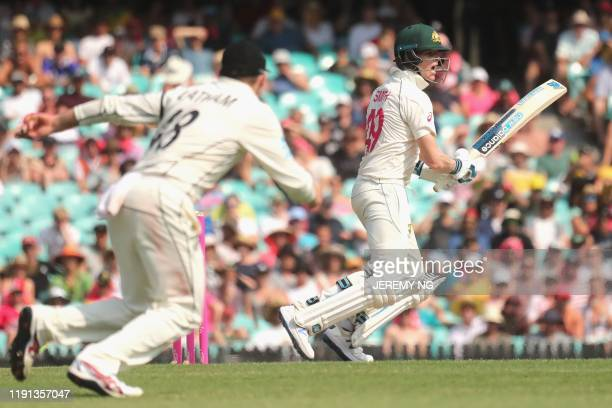 Australias Steve Smith reacts during the first day of the third cricket Test match between Australia and New Zealand at the Sydney Cricket Ground in...