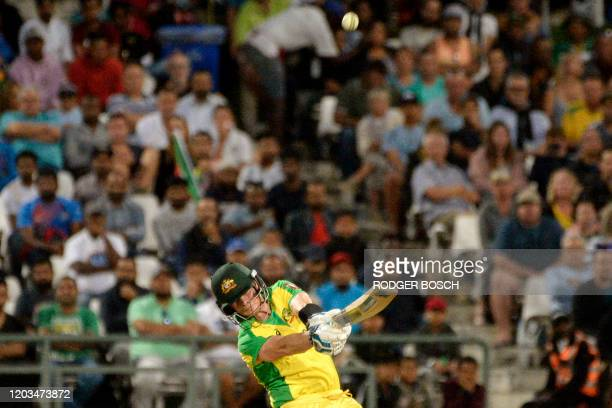 Australia's Steven Smith bats during the third and final T20 international cricket match between South Africa and Australia at Newlands Cricket...