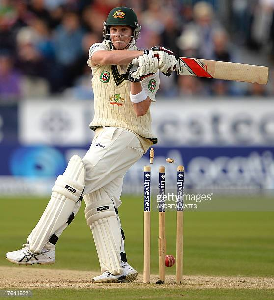 Australia's Steven Smith is bowled out by England's Stuart Broad during the fourth day of the fourth Ashes cricket test match between England and...