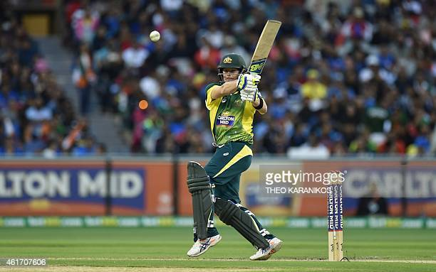 Australia's Steven Smith plays a shot during the oneday international cricket match between Australia and India at the Melbourne Cricket Ground on...
