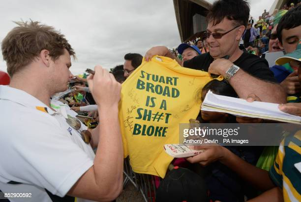 Australia's Steven Smith signs autographs during the photocall at the Sydney Opera House, Australia.