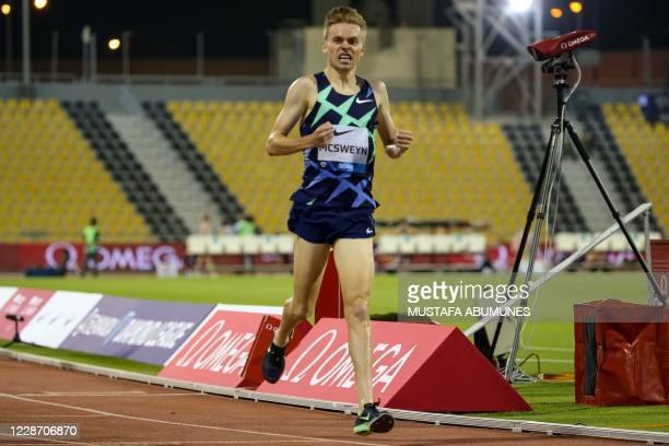 Australia's Stewart MsSweyn gestures after winning the Men's 1500m during the IAAF Diamond League competition on September 25, 2020 at the Suheim Bin...