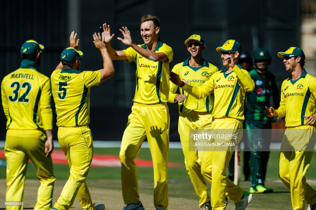 Australia's strike bowler Billy Stanlake (C) celebrates a wicket with teammates during the 2nd match played between Australia and Pakistan as part of a T20 tri-series which includes host country Zimbabwe at Harare Sports Club, on July 2, 2018.