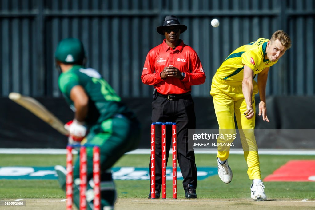 Australia's strike bowler Billy Stanlake delivers a ball during the 2nd match played between Australia and Pakistan as part of a T20 tri-series which includes host country Zimbabwe at Harare Sports Club, on July 2 2018.