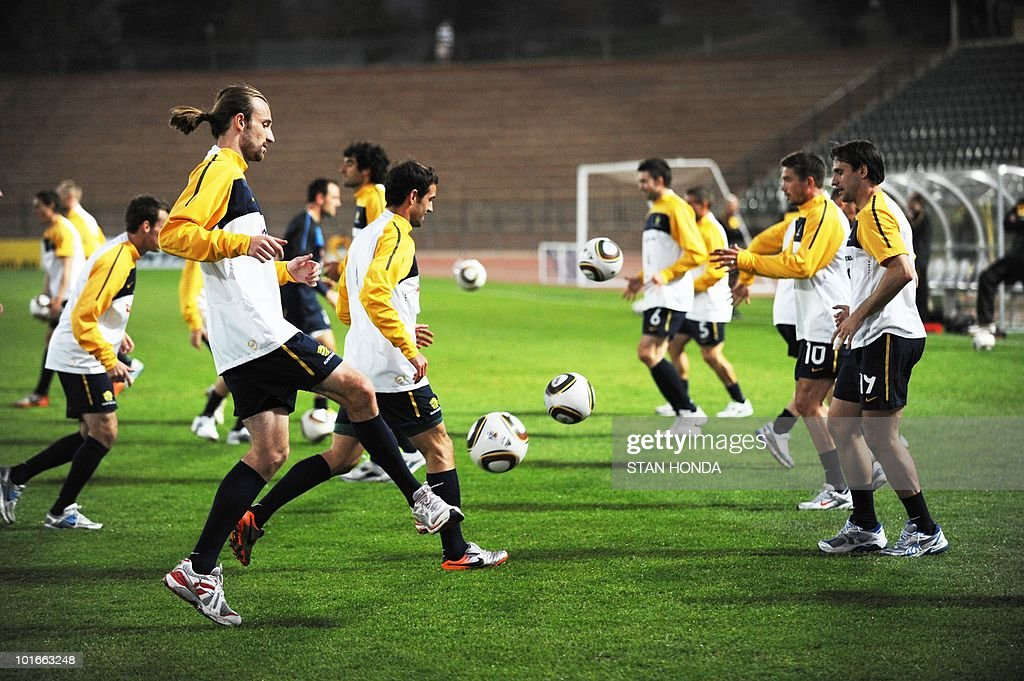 Australia's striker Josh Kennedy (L) takes part in a team training session ahead of the start of the 2010 World Cup on June 6, 2010 in Roodepoort.