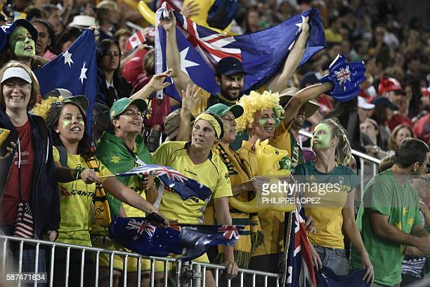 Australia's supporters cheer in the womens rugby sevens gold medal match between New Zealand and Australia during the Rio 2016 Olympic Games at...