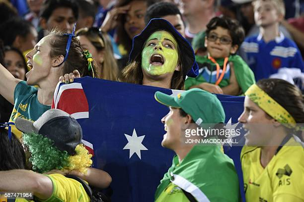 Australia's supporters react in the womens rugby sevens gold medal match between New Zealand and Australia during the Rio 2016 Olympic Games at...