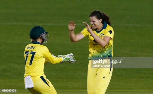 Australia's Tahlia McGrath celebrates with Alyssa Healy after taking the catch to dismiss Sarah Taylor during the Women's One Day International match...