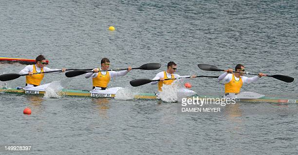 Australia's Tate Smith Dave Smith Murray Stewart and Jacob Clear compete in the kayak four 1000m men's semifinal 1 during the London 2012 Olympic...