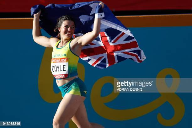 Australias Taylor Doyle celebrates after the athletic's women's T38 long jump final during the 2018 Gold Coast Commonwealth Games at the Carrara...