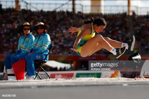 TOPSHOT Australias Taylor Doyle competes in the athletic's women's T38 long jump final during the 2018 Gold Coast Commonwealth Games at the Carrara...