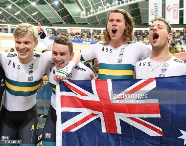 Australia's team celebrates after breaking the team persuit world record during the UCI Track Cycling World Championships on February 27 2019 in...