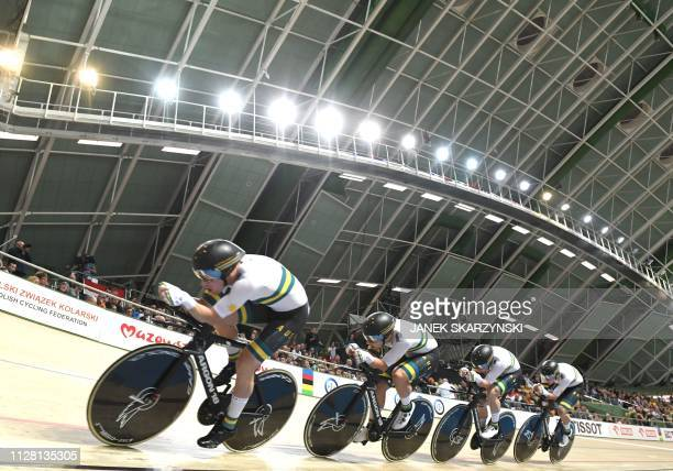 Australia's team competes during the Men's Team Pursuit at the UCI Track Cycling World Championships on February 27 2019 in Pruszkow