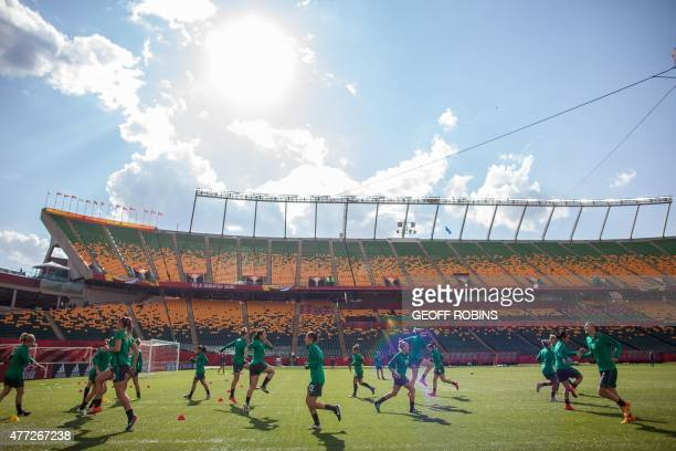 Australia's team does warms up during their FIFA Women's World Cup training session at Commonwealth Stadium in Edmonton Canada on June 15 2015...
