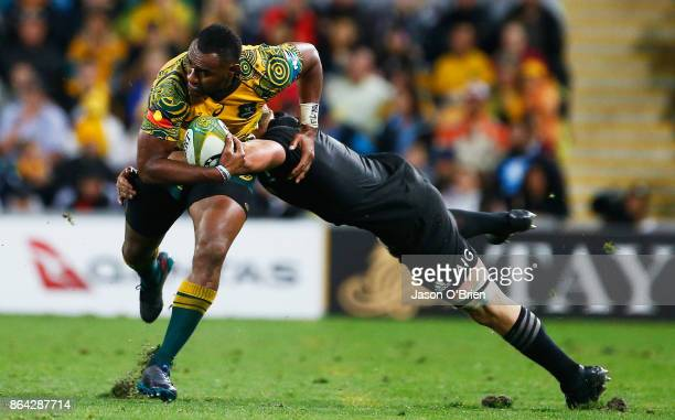 Australia's Tevita Kuridrani in action during the Bledisloe Cup match between the Australian Wallabies and the New Zealand All Blacks at Suncorp...
