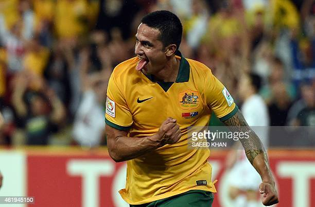 Australia's Tim Cahill celebrates his second goal during the AFC Asian Cup quarterfinal football match between Australia and China in Brisbane on...