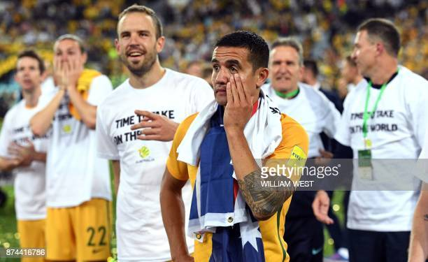Australia's Tim Cahill wipes a tear away after Australia defeated Honduras in their 2018 World Cup qualification playoff football match at Stadium...