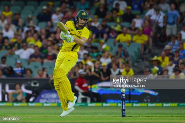 Australia's Tim Paine bats during the fourth oneday international cricket match between England and Australia at Adelaide Oval on January 26 2018 /...
