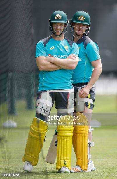 Australia's Tim Paine with D'Arcy Short during the nets session at Emirates Old Trafford Manchester