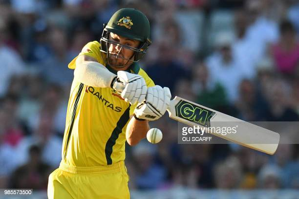 Australia's Travis Head plays a shot during the Twenty20 International cricket match between England and Australia at Edgbaston cricket ground in...