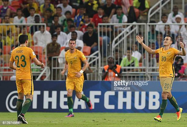Australia's Trent Sainsbury celebrates his goal during the 2018 FIFA World Cup Qualifiers match between Saudi Arabia and Australia at the King...