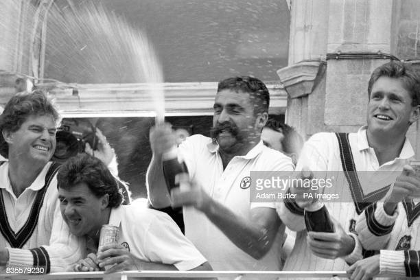 Australia's victorious cricketers celebrate after winning the sixth and final Cornhill Test and the series at the Oval From left Terry Alderman Tim...