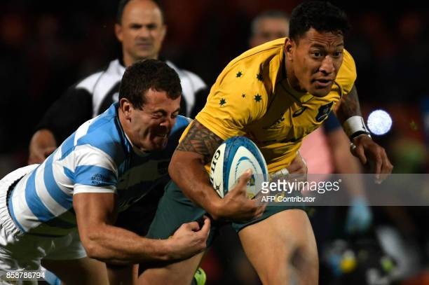 Australia's Wallabies Israel Folau is tackled by Argentina's Los Pumas Emiliano Bofelli during the Rugby Championship 2017 test match at Malvinas...