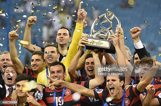 Australia's Western Sydney Wanderers celebrate after winning the second leg of the AFC Champions League 2014 football final with a 0-0 draw against...